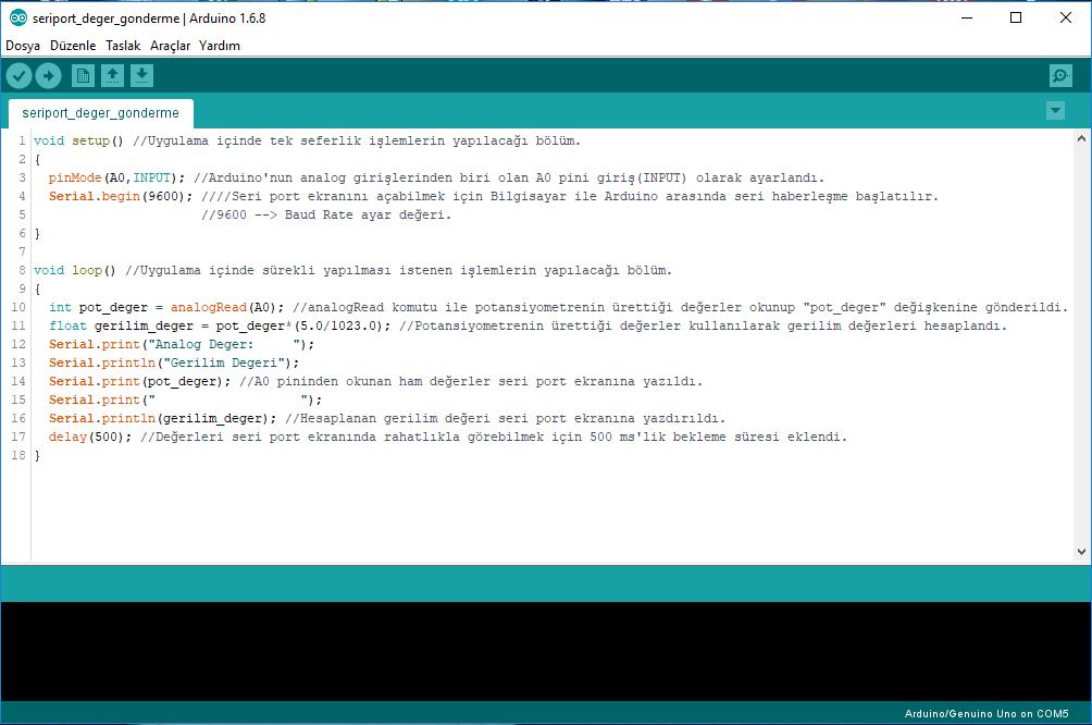 Seriport uygulaması kodları