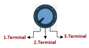 Potansiyometre terminal açıklaması.